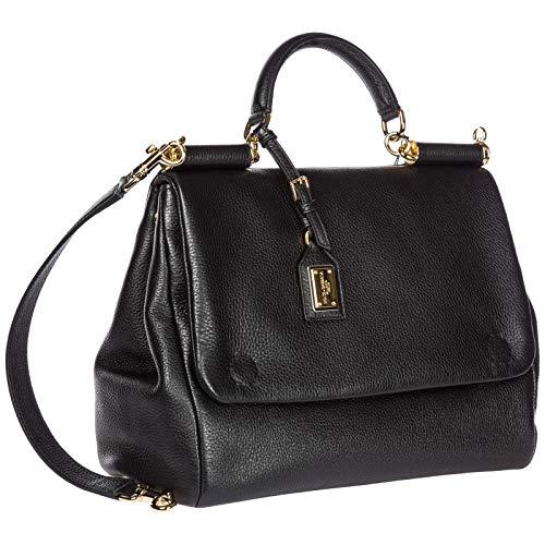 noir tote femme à en amp; tote cuir main Dolce sac Sicily Gabbana qP8xHX