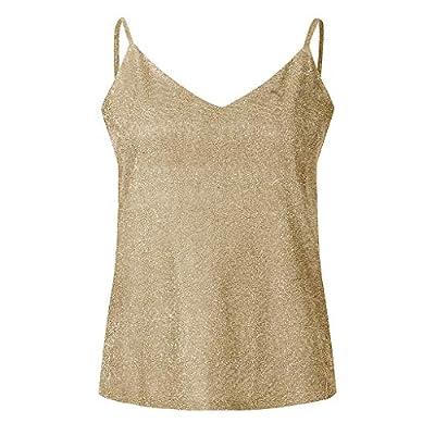 Women's Sequin Spaghetti Strap Tank Tops V-Neck Backless Summer Vest Cami Swing Vest Clubwear Tops: Clothing
