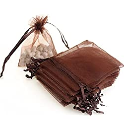 "Dealglad 100pcs Drawstring Organza Jewelry Candy Pouch Party Wedding Favor Gift Bags (3.5x4.5"", Brown)"