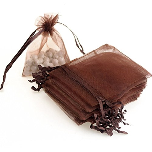 Dealglad 100pcs Drawstring Organza Jewelry Candy Pouch Party Wedding Favor Gift Bags (3x4, Brown) ()