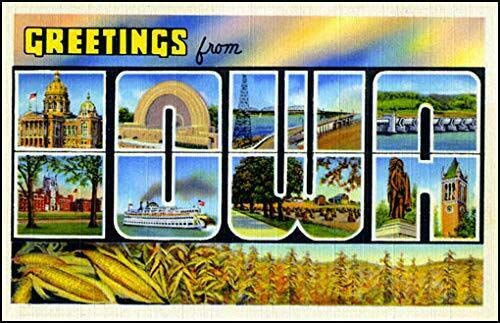 MAGNET 3x5 inch Vintage Greetings from Iowa Sticker (Old Postcard Art Logo ia) Magnetic vinyl bumper sticker sticks to any metal fridge, car, signs