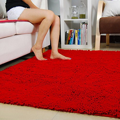 Ustide Red Chenille Rugs Shaggy Washable Kitchen Area Rug Sets Thick Indoor Non Slip Floor Mat Living Room Rugs 2'X3' Chenille Living Room Set