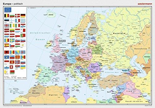Posterkarten Geographie: Europa: politisch Landkarte – 1. Oktober 1996 Westermann Lernspielverlage 3075020044 Baden-Württemberg Bayern