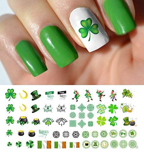 (St. Patricks Day Luck of The Irish Assortment Water Slide Nail Art Decals - Salon Quality 5.5