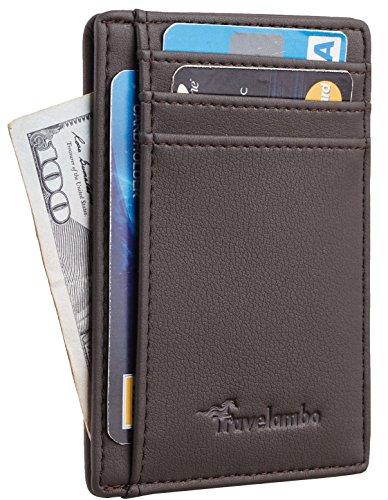 Travelambo Front Pocket Minimalist Leather Slim Wallet RFID Blocking Medium Size (Vipor Steel (Medium Mens Leather)
