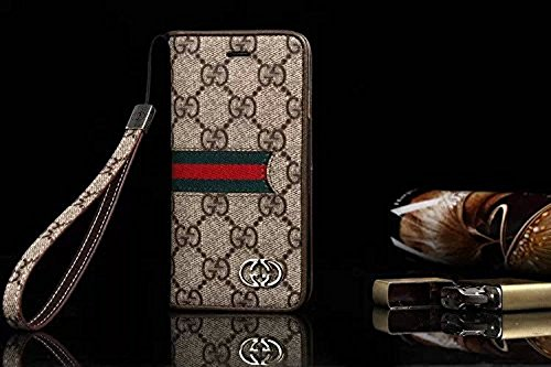 Gucci Iphone (iPhone 7 Plus Case, Wristlet Strap wallet Case for iPhone 7 Plus 5.5 Screen (GG Brown))