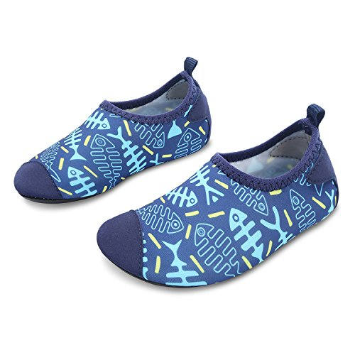 Boys Bone - L-RUN Kids Water Shoes Boys Girls Aqua Sock Slip-On Athletic Sports Shoes Blue 11-11.5=EU28-29
