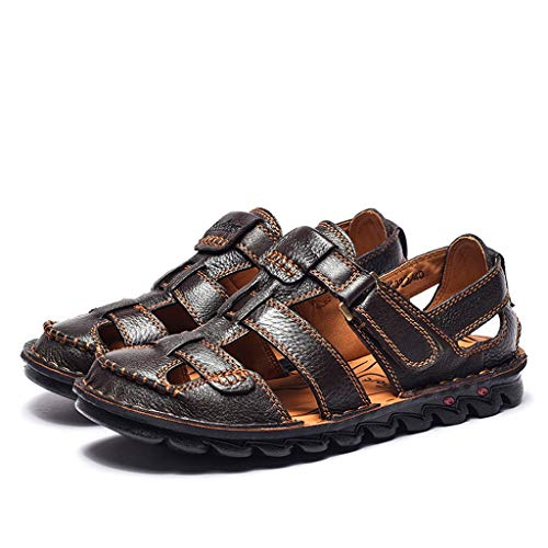 Summer Men's Sandals,Summer Mens Leather Sandals Flats Beach Walking Non-SlipSoft Bottom Casual Shoes by Tronet Sandals (Image #2)