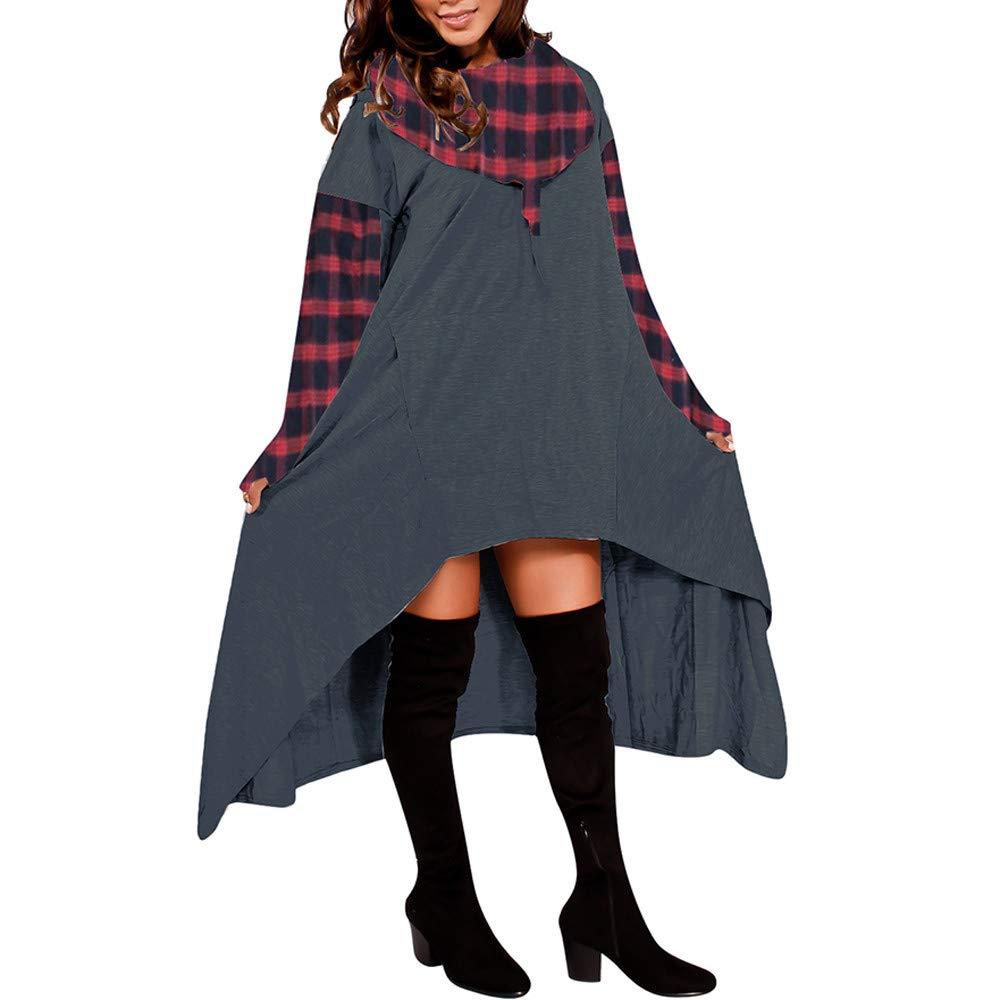 Sannysis Women Loose Hoodie Long Hooded Tops Ladies Sweatshirt Sweater Asymmetric Blouse, Gray 3XL