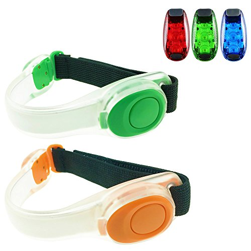 Gizwise LED Safety Lights Armband and Clip on Strobe light Set Bycicles Accessories for Running Run Around Baby Jogging Stroller