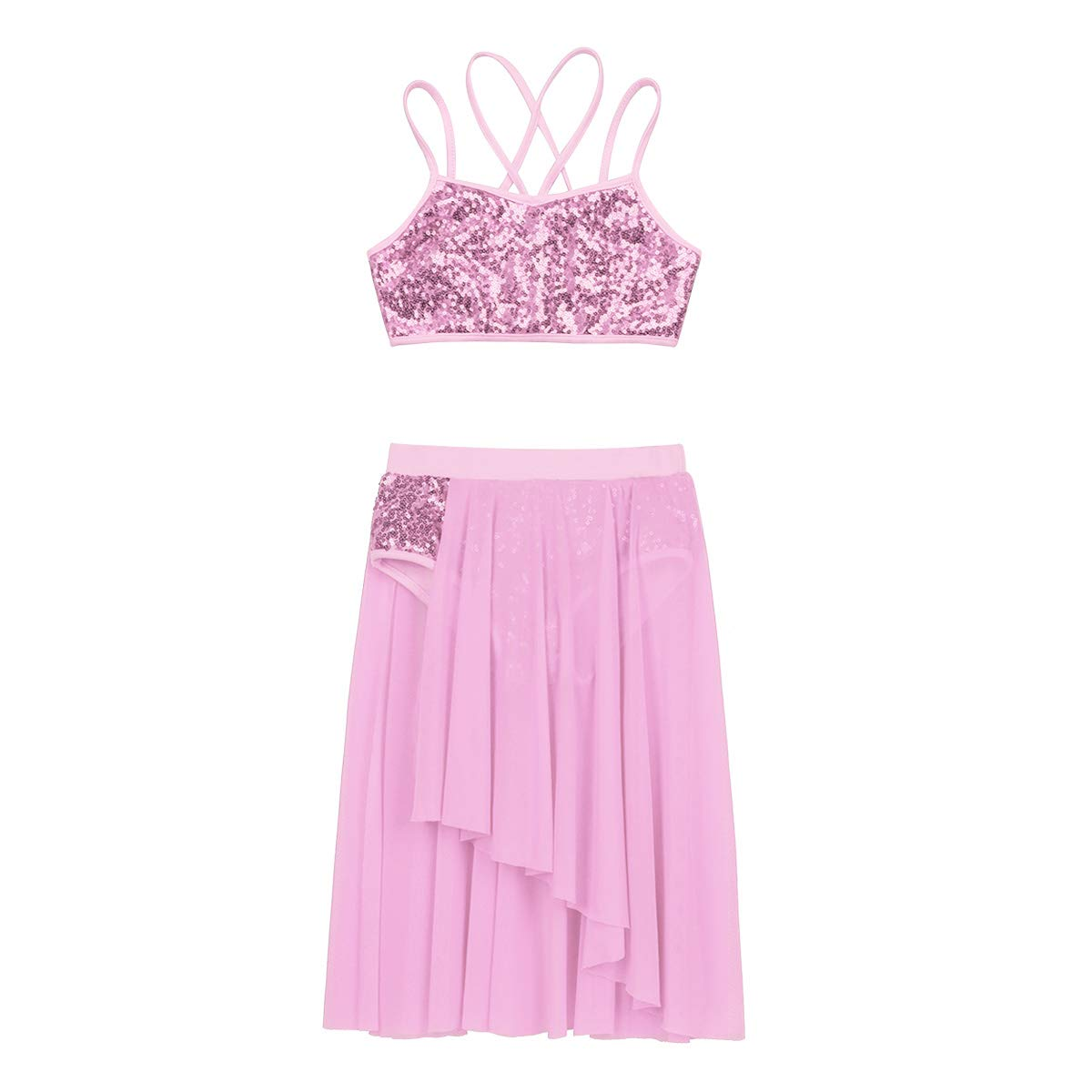 iEFiEL Kids Girls Latin Ballet Lyrical Dance Outfit Sequins Camisole Crop Top with Irregular Tulle Skirt Two-Pieces Set
