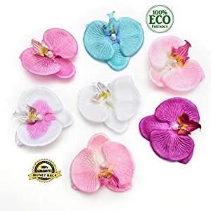 silk flowers in bulk wholesale Fake Flowers Heads Fashion Orchid Artificial Flower DIY Phalaenopsis Orchid Butterfly Artificial Flower Silk Bouquet Wedding Home Decor 7cm 20pcs (Multicolor) 96