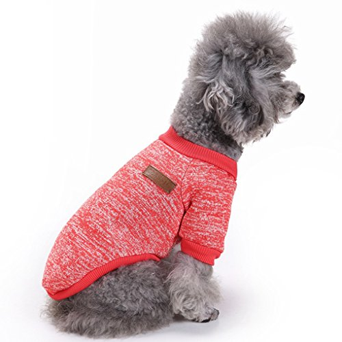 Fashion Focus On Pet Dog Clothes Knitwear Dog Sweater Soft Thickening Warm Pup Dogs Shirt Winter Puppy Sweater for Dogs (Red, L)