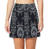 Topfire Women Active Athletic Skorts Lightweight Quick Dry Skirt for Sports Running Tennis Golf Workout (L, Black Flora)