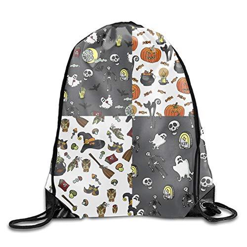 Halloween Seamless Drawstring Sport Bag Lightweight Sackpack Waterproof Backpack