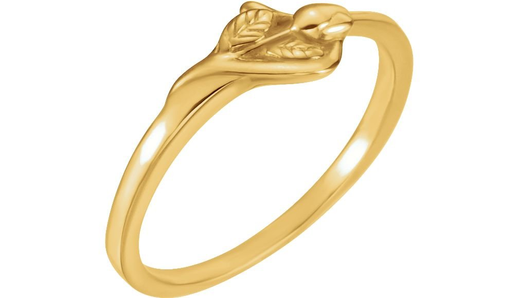 'Unblossomed Rose' 14k Yellow Gold Chastity Ring, Size 6