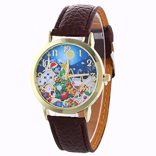 AMA(TM) Men Women Christmas Tree Presents Pattern Analog Quartz Vogue Wrist Watch - Link Pearl Dial