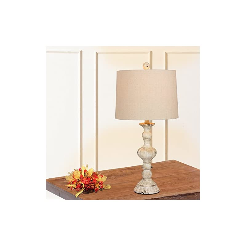 Cory Martin W-6238CAW-2PK Fangio Lighting's #6238CAW-2PK 26.5 in. Pair of Distressed, Sculpted Candlestick Resin Table…