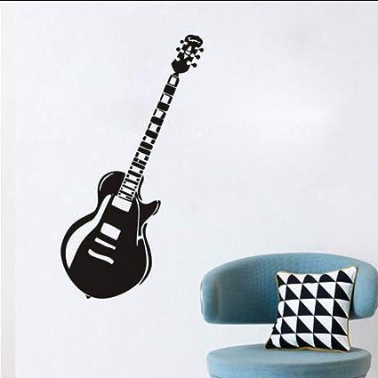 Chellonm Vintage Guitarra Eléctrica Pegatinas De Pared Para Niños Habitación Boy Name Nursery Instrumento De Música ...