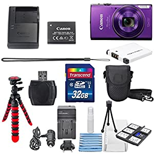 Canon PowerShot ELPH 360 HS with 12x Optical Zoom and Built-In Wi-Fi with Deluxe Accessory Bundle and Cleaning Tools