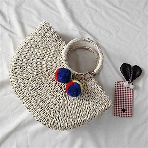Pompon beige Women Beach Straw Weaving Bag Amuele Moon Beach Shaped Wrapped Bag Bag 5ORpq
