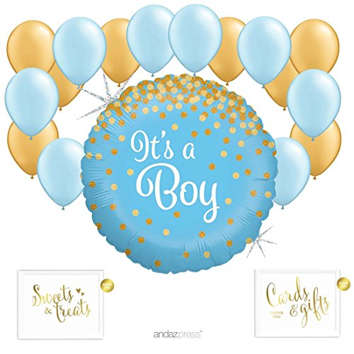 Andaz Press Balloon Party Kit with Gold Ink Signs, It's a Boy Glittering Gold Confetti Polka Dots with Baby Blue with Gold Latex Balloons, 19-Piece (Latex Dots)