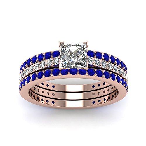 Araska Diamond Princess Cut White CZ With Blue Sapphire Wedding Bridal Ring Set In 14K Rose GP 1.85Ct (8)