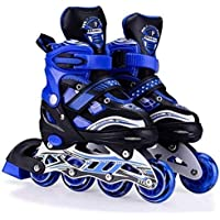 WireScorts Inline Skates Size Adjustable All Pure PU Wheels it has Aluminum which is Strong with LED Flash Light on Wheels - Multi Color & Design