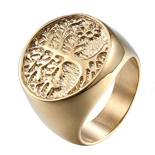 IFUAQZ Men's Stainless Steel Vintage Gold Plated Tree of Life Ring Signet Biker Band Round Top Size 11 ()
