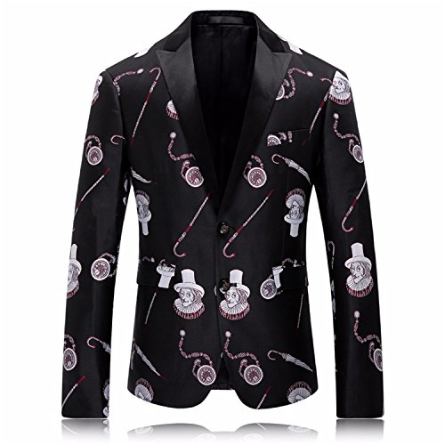 Vazpue Suits Mens Blazers New Arrivals 2016 British Style Mens Printed Blazer Fancy Stage Jacket Vintage Suit Men Fashion Costume Homme Q218 BlackXL