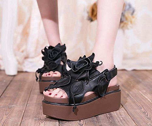 Shoes Size High Women Shoes Muffins Dress Comforty 6 Pump Flowers Slingback Thick 39 Wind 5cm Toe Velcro 35 Black Casual Peep Leather Sandals Bottom National Heels Eu xAwqfUwvng