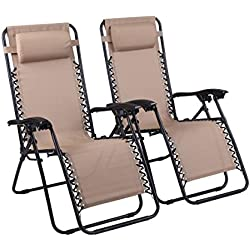 Naomi Home Zero Gravity Chairs Cream/Set of 2