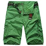 Men's Sport Pants, Fashion Printing Shorts Drawstring Elastic Waist Green