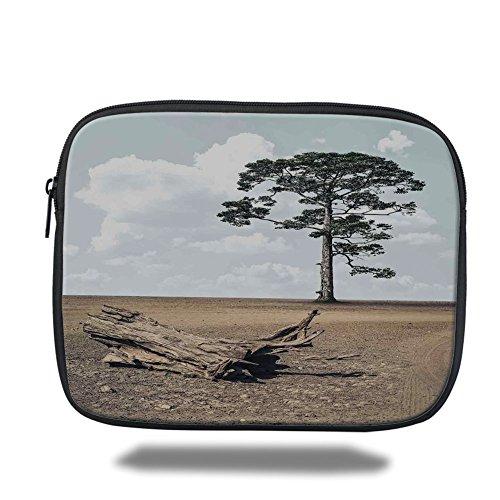 - Laptop Sleeve Case,Driftwood Decor,A Tree on the Arid Terrain and Driftwood Cloudy Sky Digital Image,Cocoa Light Grey,iPad Bag