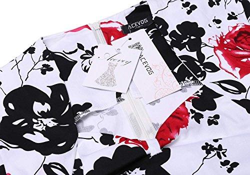 Falda Vestidos Vintage Rojo Vestido 1 Años Impresión 50 Floral Mangas Mujer Fiesta Acevog Sin de fOAvXX