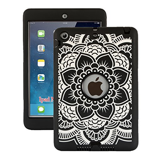 iPad Mini Case, iPad Mini 2 Case, iPad Mini 3 Case, ZERMU Black Flower Design Shock-Absorption Silicone High Impact Resistant Hybrid Three Layer Armor Defender Protective Cover for iPad Mini 1/2/3 (Incipio Ipad Case 3rd Generation)