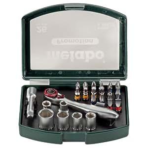 Metabo 630426000 - Estuche con llave de carraca y vasos (26 piezas)