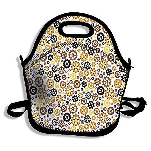 Amerbuty Portable Lunch Handbag Waterproof Neoprene Insulated Picnic Meal Prep Handbag Storage Bag Food Bag for Work Office TravelGear Symbol Graffiti Black