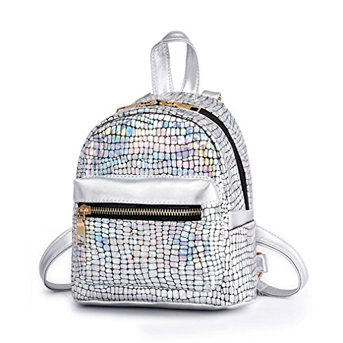 Cinhent Backpacks Women Fashion Colorful Squins Discoloration Travel Backpack, Quality School Lightweight Backpack,Portable Sports Casual For Outdoor Camping Hiking Cycling (Silver)