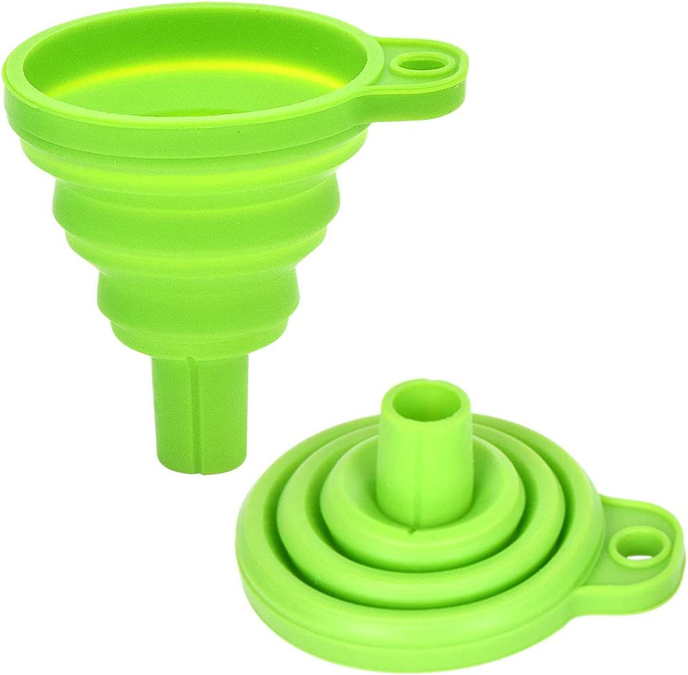 KOPEESY Silicone Collapsible Funnel Set of 2, Flexible Silicone Foldable Kitchen Funnel for Liquid/Powder Transfer, Food Grade Silicone Funnel, Green