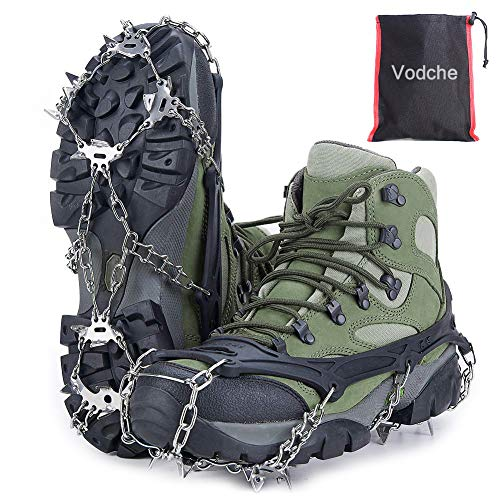 Vodche Traction Cleats Crampons Ice Snow Grips for Boots Shoes Stainless Steel Ice Cleats with 19 Spikes Safe Protect for Walking, Jogging, Climbing and Hiking (X-Large) (Traction For Boots Cleats)