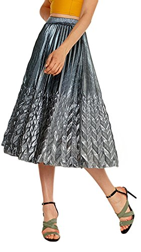Chartou Women's Glitter Metallic Chevron Pattern Gold & Silver Mid-Long Accordion Pleated Skirts (Silver, Medium) (Cotton Metallic Skirt)