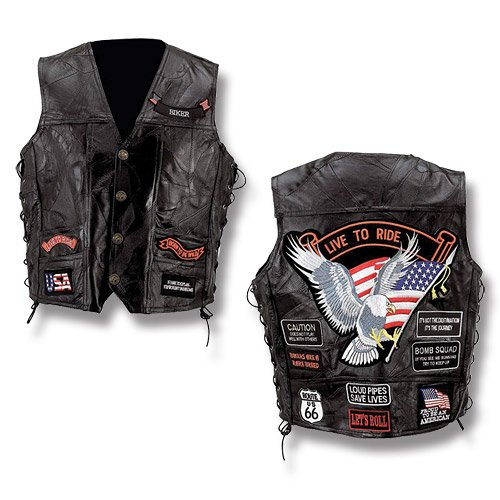 Diamond Plate? Rock Design Genuine Buffalo Leather Vest W/ 14 Patches-XL