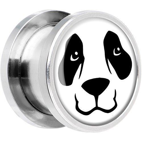 "BodyCandy Acero Inoxidable Oso Panda Cara Dilatador Ajuste Rosca Par 1/2"""