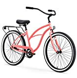 "sixthreezero Around The Block Women's Single Speed Cruiser Bicycle, Coral w/ Black Seat/Grips, 26"" Wheels/17"" Frame"