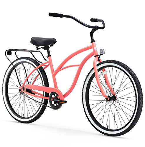 sixthreezero Around The Block Women's Single Speed Cruiser Bicycle, Coral w/ Black Seat/Grips, 26