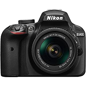 Nikon D3400 Digital SLR Camera & 18-55mm VR DX AF-P Zoom Lens (Black) - (Certified Refurbished) from Nikon