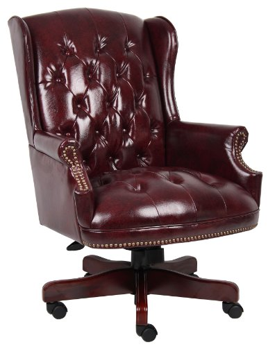 Boss Office Products B800-BY Wingback Traditional Chair in Burgundy (Leather Wingback Chairs)