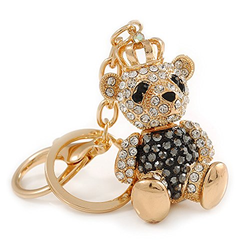 Hematite Bear - Avalaya Hematite/Clear Crystal Royal Teddy Bear Keyring/Bag Charm in Gold Tone Metal - 10cm L