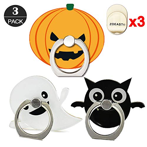 ZOEAST(TM) 3 Pack Phone Ring Grip Pumpkin Lantern Devil Ghost Bat Universal 360° Adjustable Holder Car Desk Hook Stand Stent Mount Kickstand Compatible with iPhone X Plus Samsung iPad (3pcs Halloween)]()